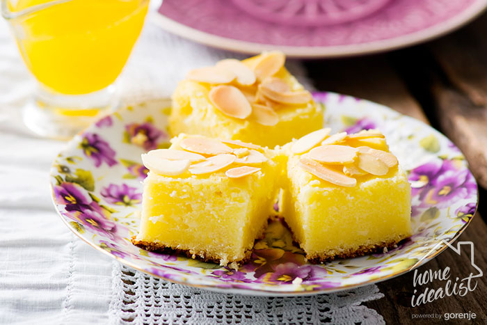 Fiorella , italian cottage cheese semolina cake. selective focus