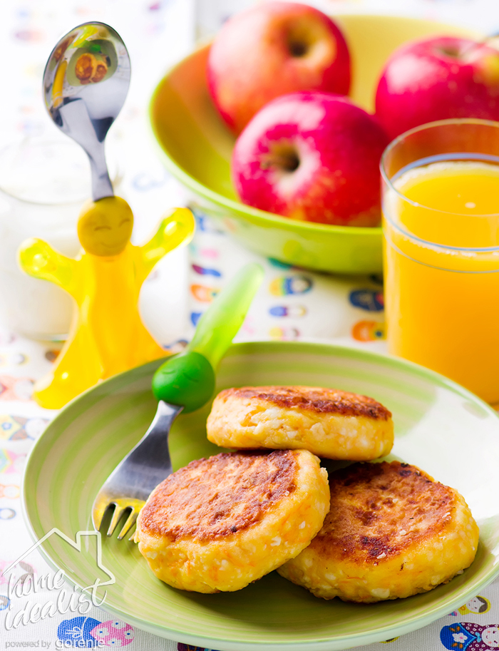 cottage cheese pancakes with carrot .kids breackfast.selective focus
