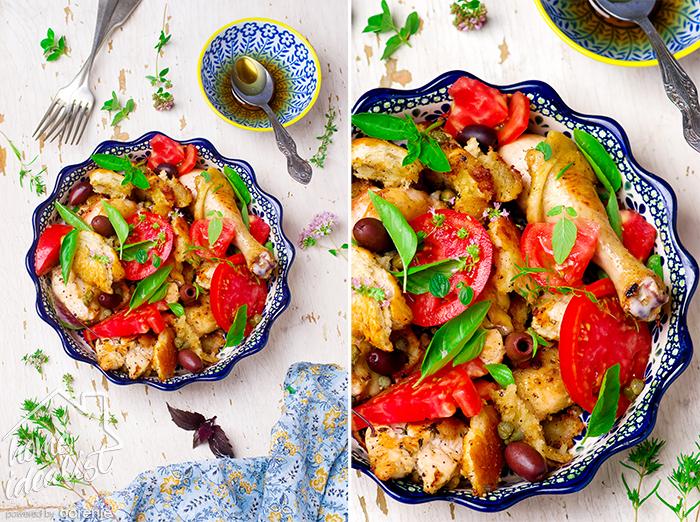 Chicken panzanella. style vintage. selective focus