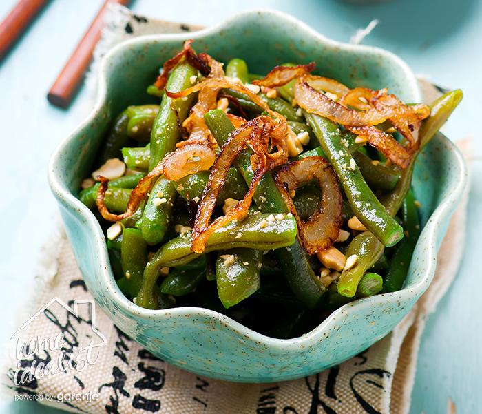 Asian green beans salad. Selective focus